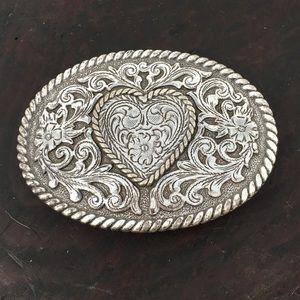Sweetheart Silver-tone Western Belt Buckle
